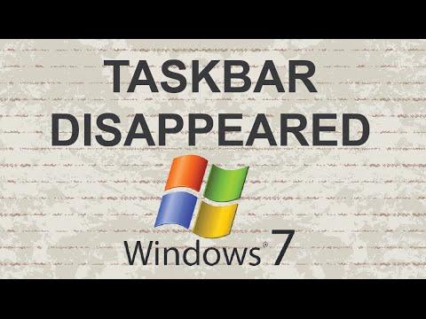 Taskbar disappeared Windows 7 SOLVED