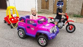 Little Girl Elis Ride On Pink Jeep with Cozy Coupe Little Tikes /w Thomas Toys Dirt Cross Super Bike