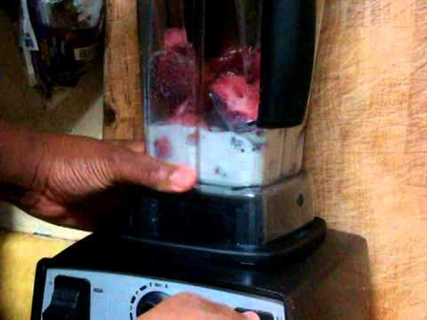 Strawberry ice cream in Vitamix using soy milk, strawberries, organic coconut sugar & Maple syrup