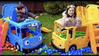 Playing with the Little Bus and Colored Balls