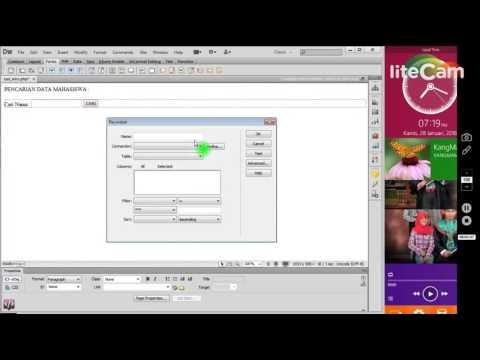 Projek Web : Cara Membuat Form Pencarian Data Di Dreamweaver CS6