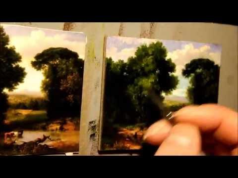A Bit of Roman Aqueduct Miniature Oil Painting