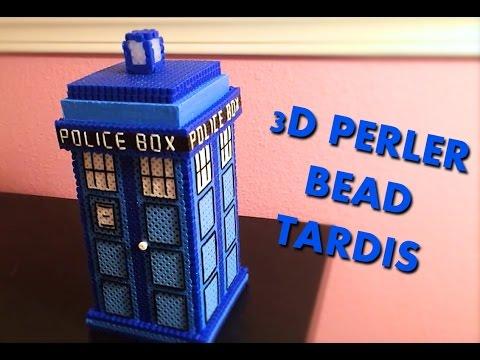 3D Perler Bead Tardis! (With thread for details)