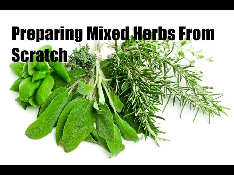 How to prepare and cut fresh mixed herb from scratch.