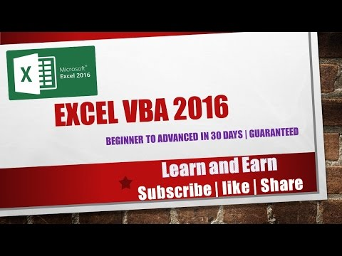 Excel VBA 2016 complete tutorial for beginners | Part 1