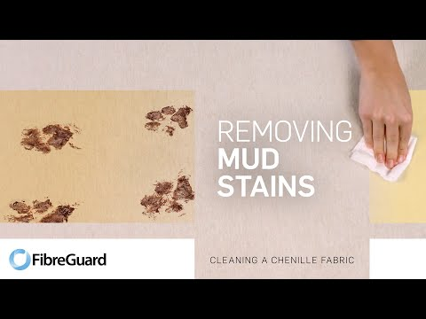 Removing mud stains from a chenille fabric