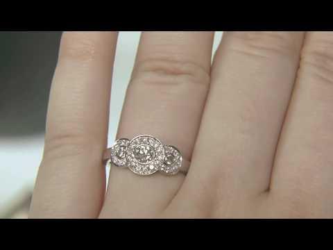 0.60ct Trilogy Halo Diamond Ring HD051