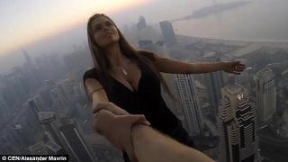 Viki Odintcova Stupid Photoshoot on Top of Cayan Tower