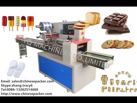 teaching video 2 installing and using pillow wrapping system snack product packing machine