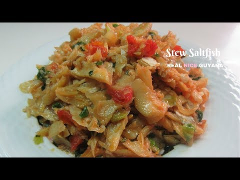 Stew saltfish step by step Video recipe l Real Nice Guyana (HD)