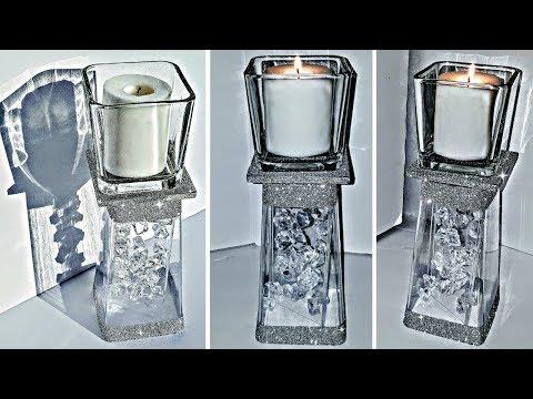 DIY Dollar Tree Candle Holder with Floating Acrylic GEMS