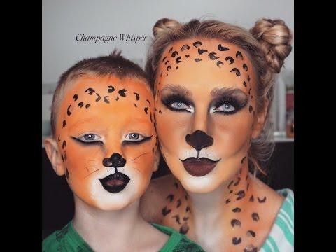 Leopard halloween fancy dress face paint tutorial - kids or adults
