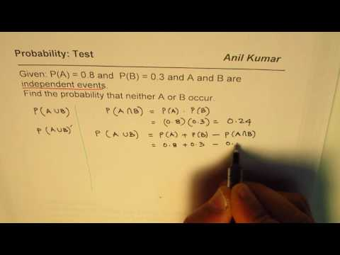 Find Probability that neither occurs from given probabilities