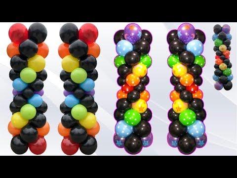 Dollar Store Balloon Columns! Rainbow Spiral