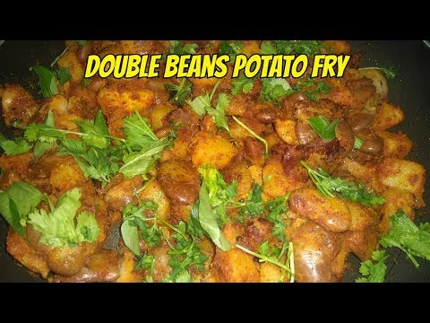 Double beans potato fry - side dish for rice or roti
