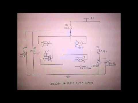Luggage security alarm circuit
