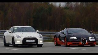 [4k] RACE Nissan GTR Alpha 12 vs Bugatti Veyron Vitesse 1200 HP Highspeed Oval SHORT VERSION (7 min)
