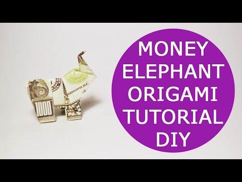 Money Elephant Origami 1 Dollar Bill Animal Tutorial DIY Folded