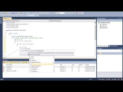 multiplication table program in c#