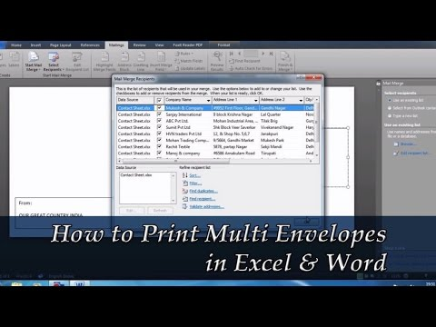 How to Print Multiple Envelopes with different Addresses In Word | How to Use Mail Merge