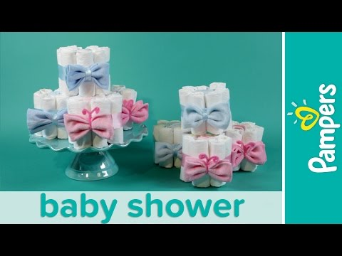 How to Make Mini Diaper Cakes | Pampers Gender Reveal Baby Shower Ideas