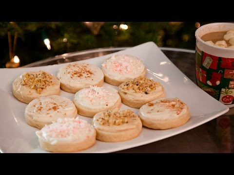 HOLIDAY CREAM CHEESE FROSTING SUGAR COOKIES (EGGNOG,PEPPERMINT, & MAPLE WALNUT)