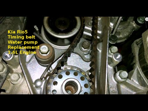 Timing belt replacement 2011 Kia Rio5 1.6L water pump how to change belt