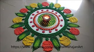 very easy,attractive and colourful rangoli for festival|navratri,diwali special rangoli designs