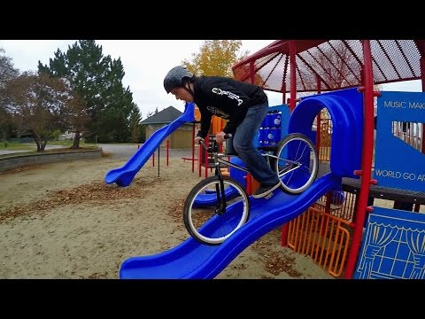 Biking on Playstructures and in a University Campus