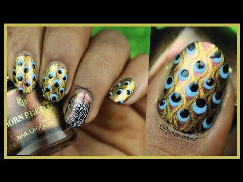 Peacock Nail Art using Beauty Big Bang Stamping Plate | Review | Polish Star