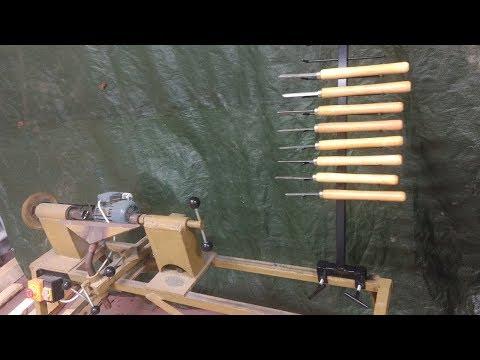 Wood lathe tool rack