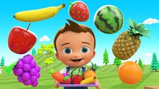 Learn Colors & Fruits Names  for Children with Little Baby Fun Play Cutting Fruits Toy Train 3D Kids
