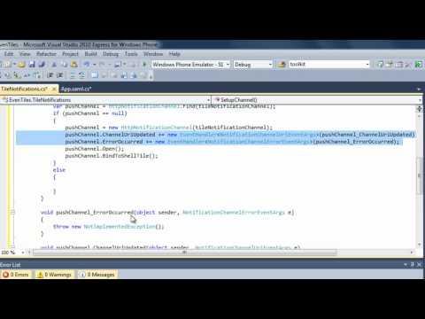 EvenTiles Windows Phone Development Tutorial - Push Notifications