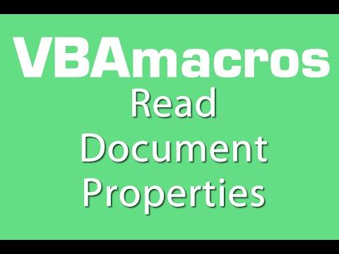 Read Document Properties - VBA Macros - Tutorial - MS Excel 2007, 2010, 2013