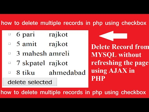 delete multiple record using checkbox without refreshing the page in php-ajax