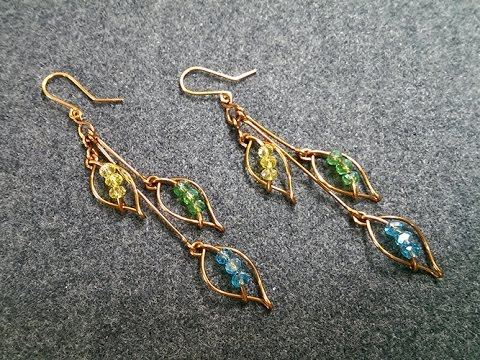 How to make Leaves earring with crystal beads - handmade jewelry design 230