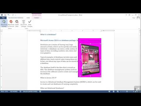 Microsoft Word 2013 Tutorial | Image Transparency