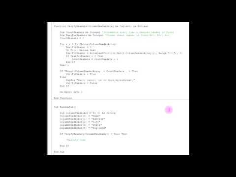 Excel VBA - Verify Column Headers