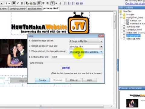 Free Website Course - Creating a Link - Yahoo Site Builder Picture and Text Links