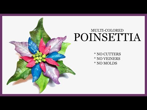 Poinsettia: NO CUTTERS, VEINERS, MOLDS - Multi Colored Sugar Craft