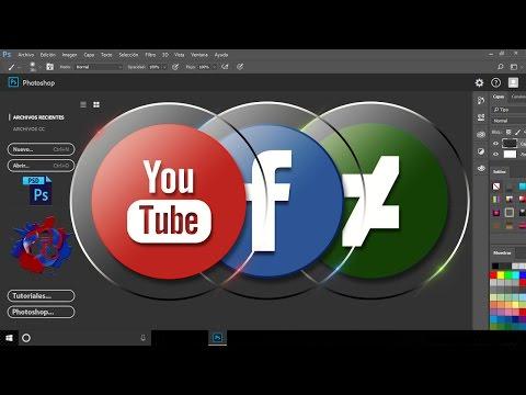 Como crear iconos de redes sociales con Adobe Photoshop cc 2017 Fácil