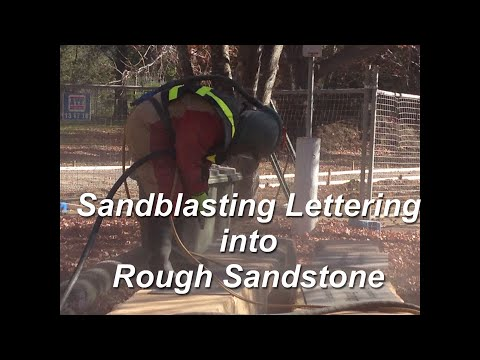 Sandblasting into Rough Sandstone for Word Art
