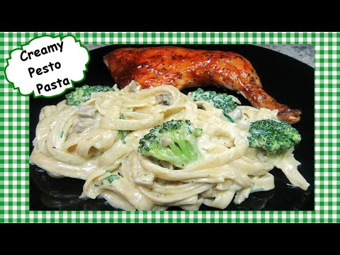 How To Make Creamy Pesto Pasta ~ Fettuccini with Basil Pesto Sauce Recipe