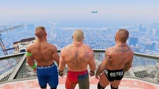 GTA 5 Randy Orton John Cena Brock Lesnar RKO Mod! #2(GTA V WWE Fail Funny moments)