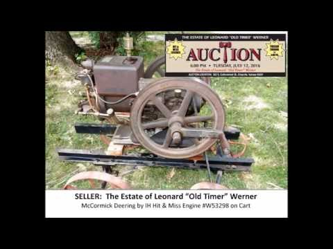 07/12/2016 - Werner Auction Video of the McCormick Deering by IH Hit & Miss Engine #W53298