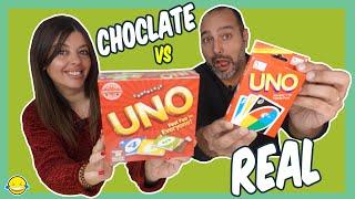 Chocolate Food vs Real Challenge 3!! Jordi y Bego de Momentos Divertidos