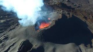 Drone Camera Captures Volcano Eruption