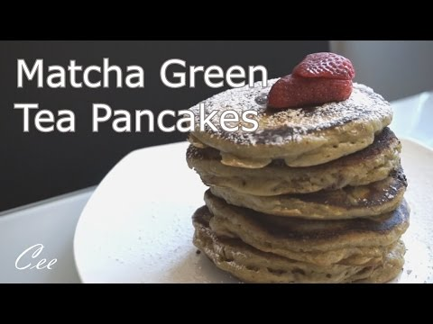 Fluffy Matcha Green Tea Pancakes with Chocolate Chips