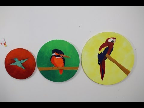 Art Lesson: How to Paint a Bird Tryptych on Round Canvases