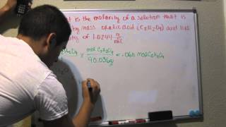 Calculate Molarity From Percent By Mass And Density Problem 448